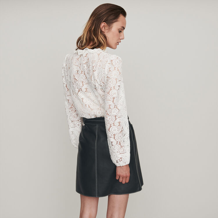 Guipure top with paisley detail : Tops & T-Shirts color Ecru