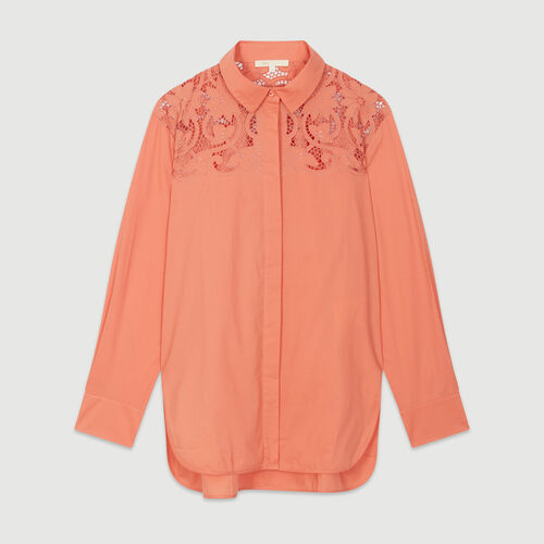 Guipure lace top : Tops & T-Shirts color Coral