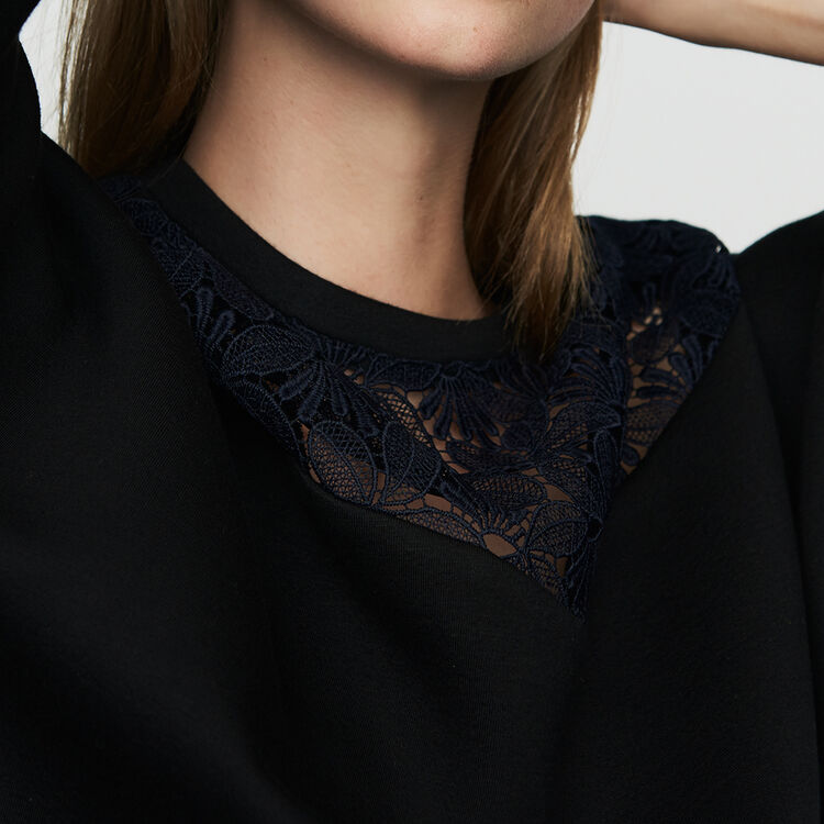 Lace sweatshirt : Sweaters color Black 210