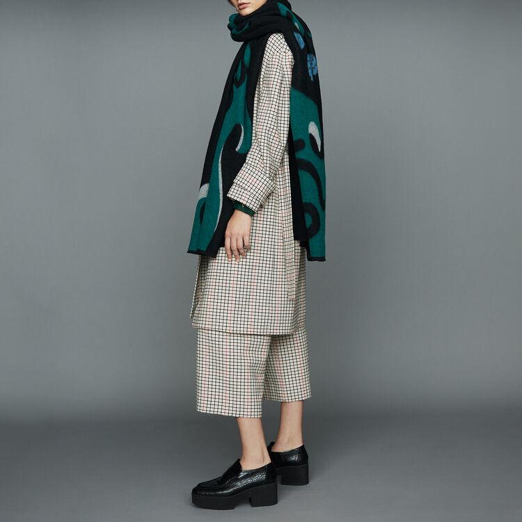 Printed scarf in cashmere : Scarves & Ponchos color Black 210