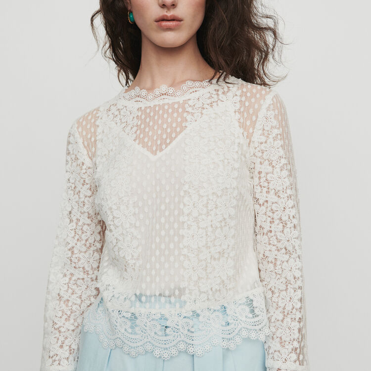 Guipure lace top : Tops & T-Shirts color White