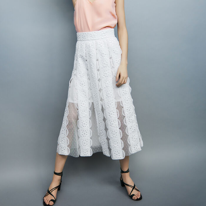 Long Swiss-dot skirt with embroiries : Skirts & Shorts color White