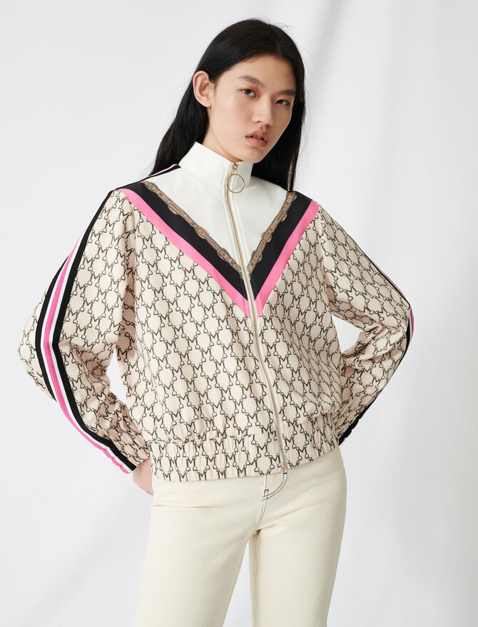Track jacket with all-over monogram - Sweaters - MAJE