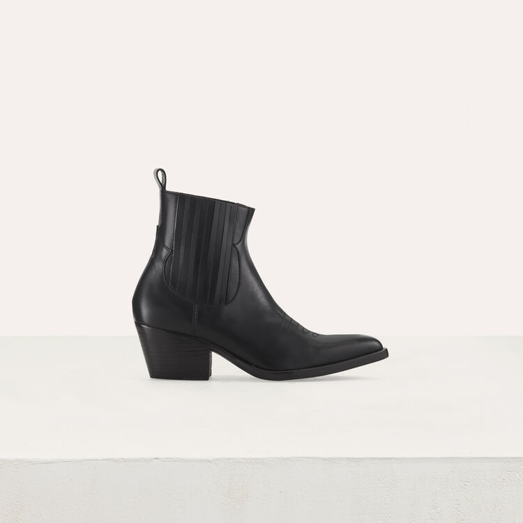 Leather cowboy boots : Shoes color Black