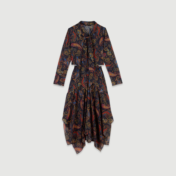 Printed-cotton scarf dress : Dresses color Navy