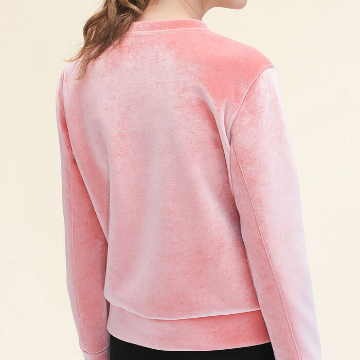 Straight-cut velvet sweatshirt. : Tops & Shirts color Pink