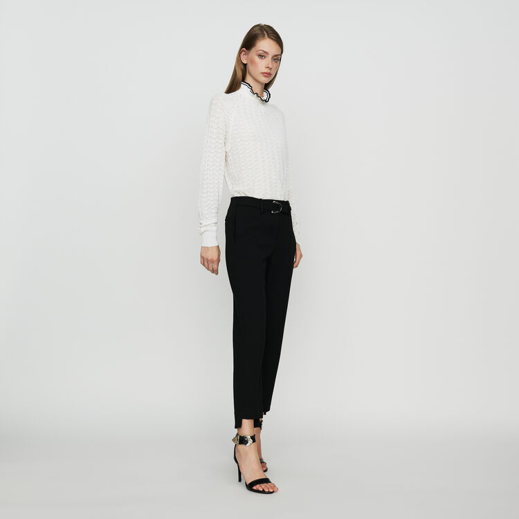 Straight crepe pant : Pants & Jeans color Black 210