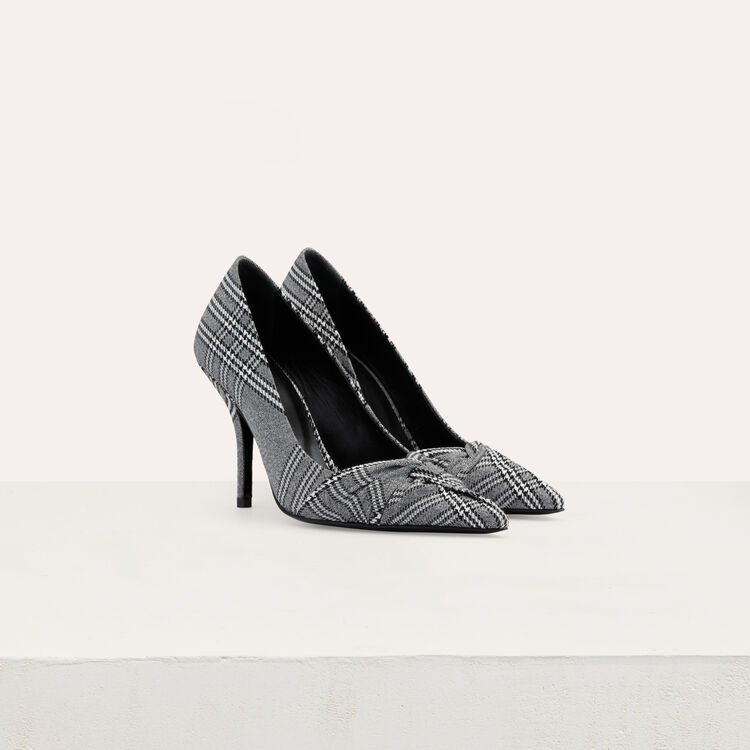 Draped pumps in Prince of Wales plaid : Fresh Air color CARREAUX