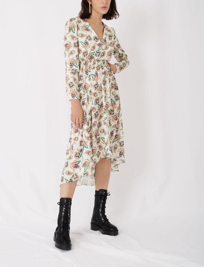 Printed satin dress with smocking - Dresses - MAJE