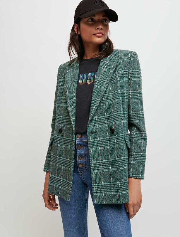 마쥬 더블 체크 자켓 MAJE Double-breasted checked jacket,Green
