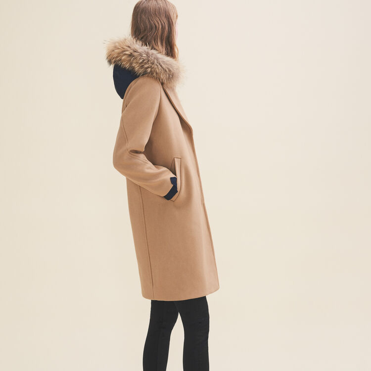 Long coat in wool and cashmere : Coats & Jackets color Camel