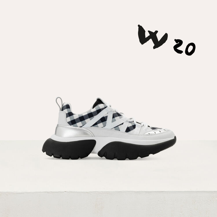 W20 urban sneakers in leather and vichy : Shoes color Black 210