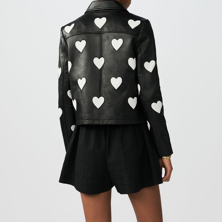 Cropped leather jacket with hearts : Coats & Jackets color Black 210