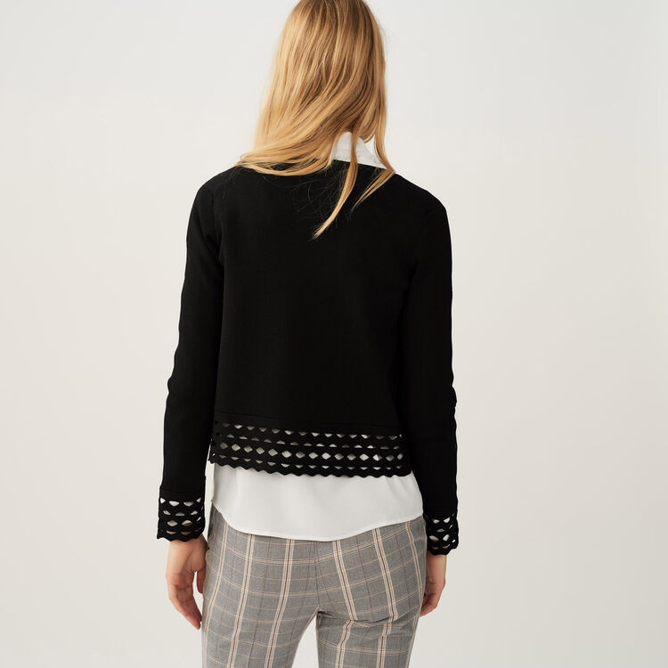 Cardigan with openwork detail : Sweaters color Black 210