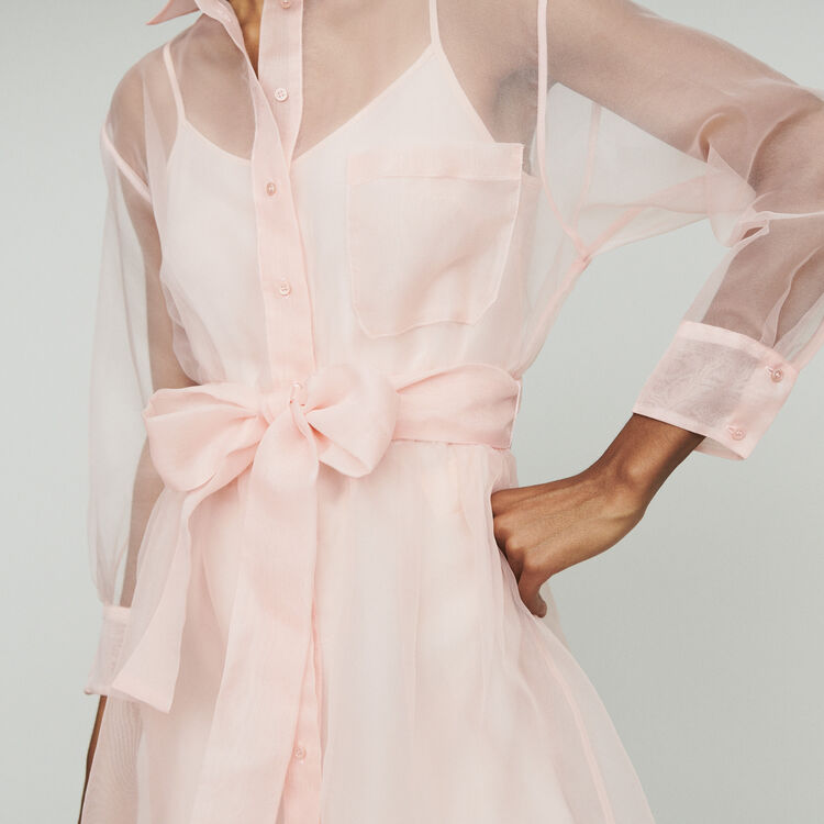 Organza shirt dress : Dresses color Pale Pink