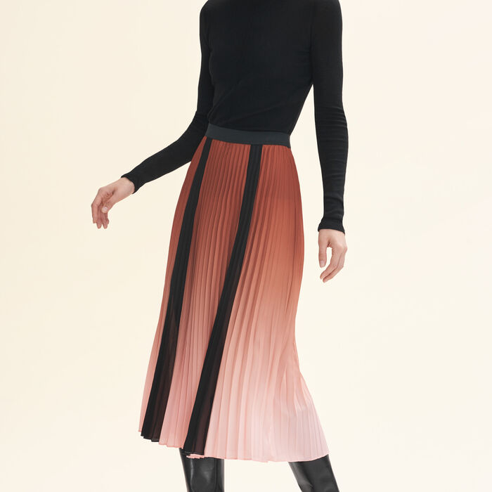 Pleated tie-dye skirt : Skirts & Shorts color Orange