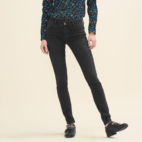 Stretch cotton skinny jeans : Pants & Jeans color Anthracite