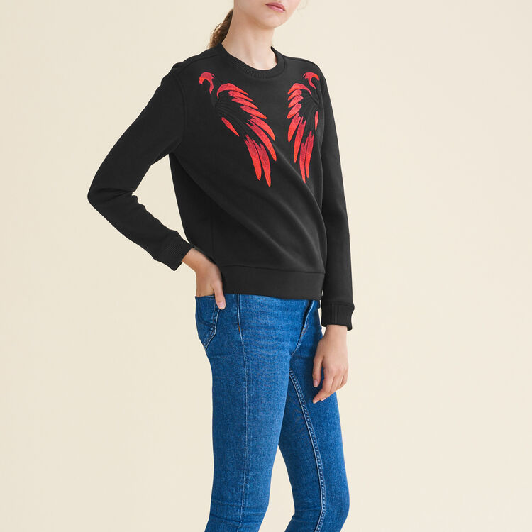 Embroidered neoprene-look sweatshirt - Sweaters - MAJE