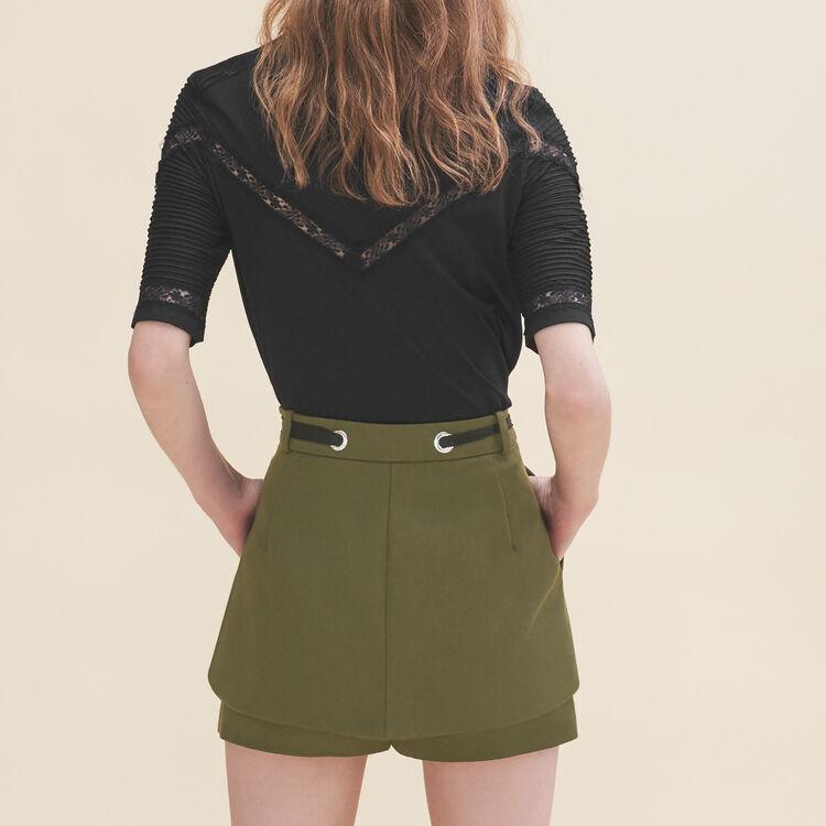 Shorts with eyelets and lacing : Skirts & Shorts color Khaki