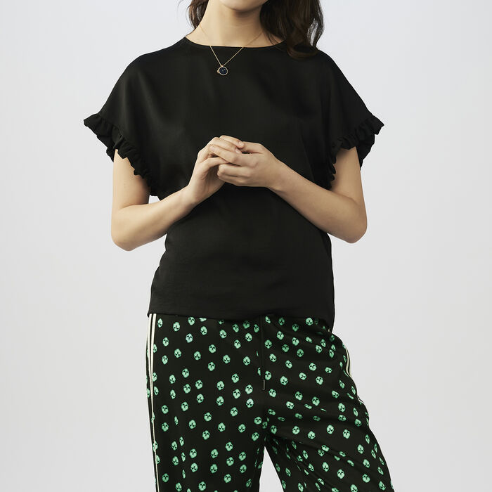 Oversized t-shirt with flounce sleeves : Tops & T-Shirts color Black 210