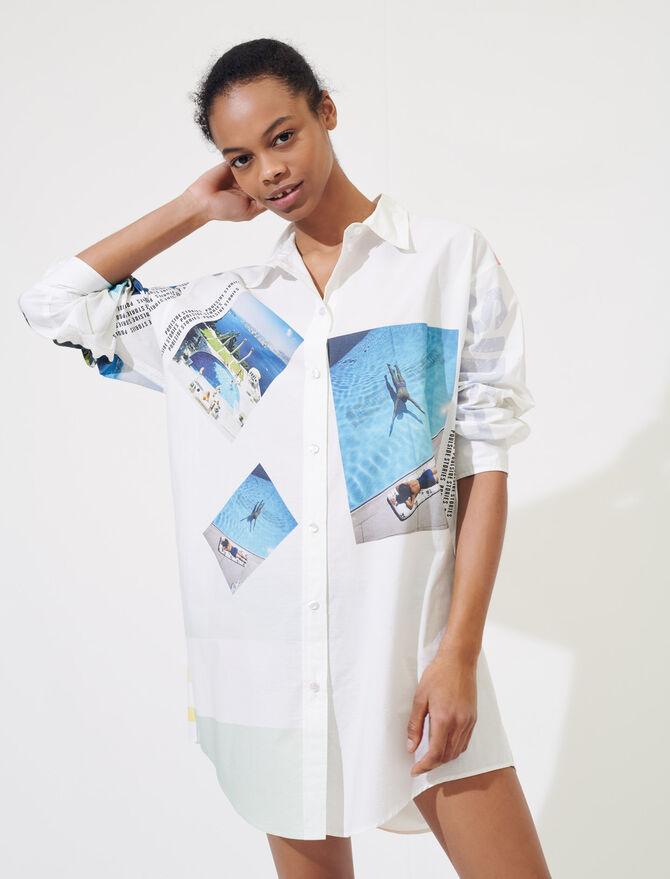 Printed oversized cotton shirt -  - MAJE