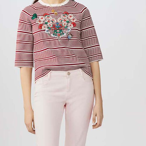 Embroidered striped sweater : Tops & T-Shirts color Stripe