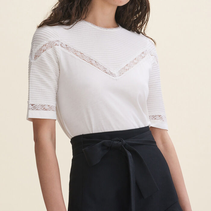 T-shirt with lace trims -  - MAJE