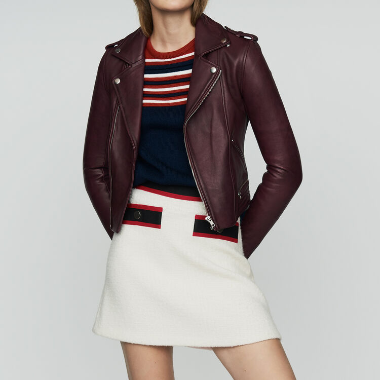 Leather jacket : Coats & Jackets color Burgundy