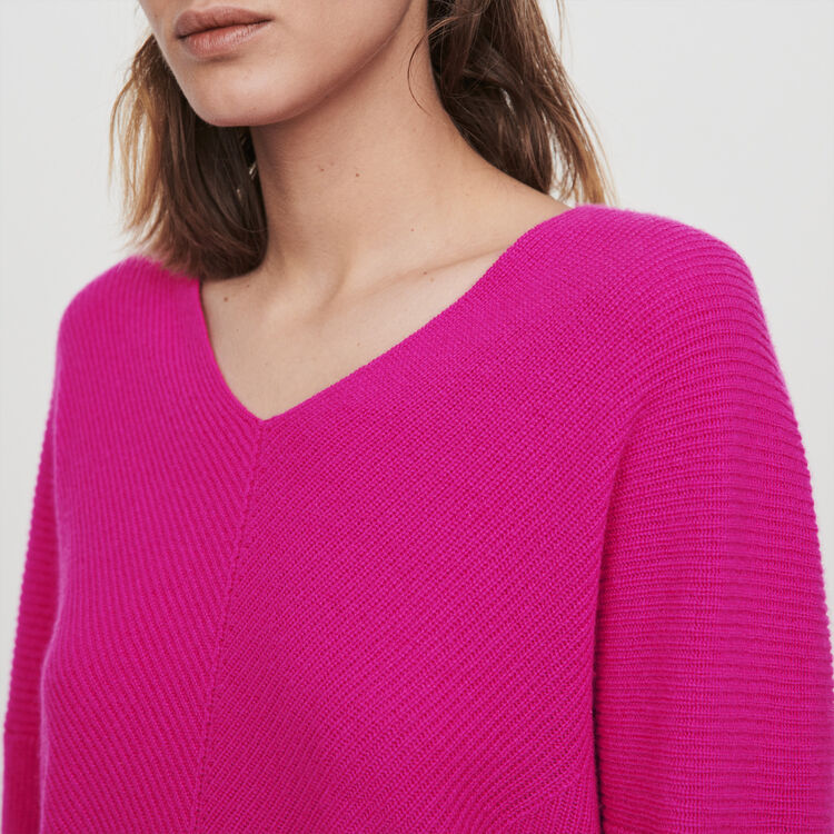 V-neck cashmere sweater : Sweaters color Purple