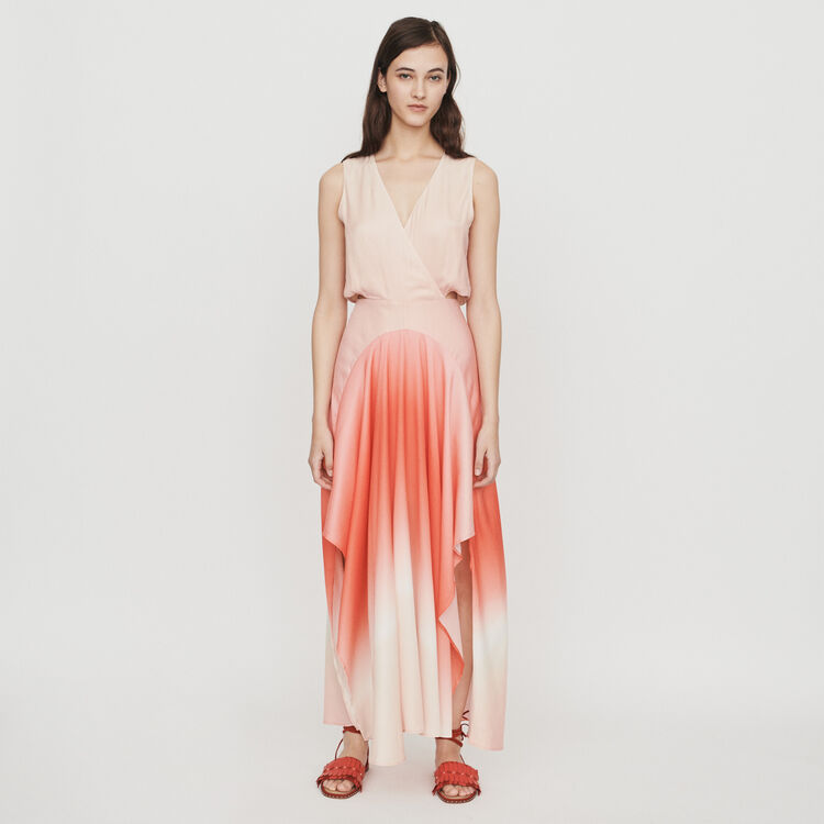 Long tie dye dress in satin : The Essentials color Coral