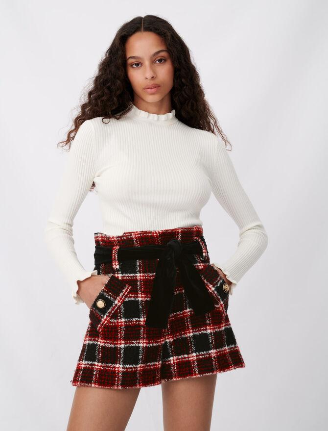 Checked shorts with velvet belt - Skirts & Shorts - MAJE