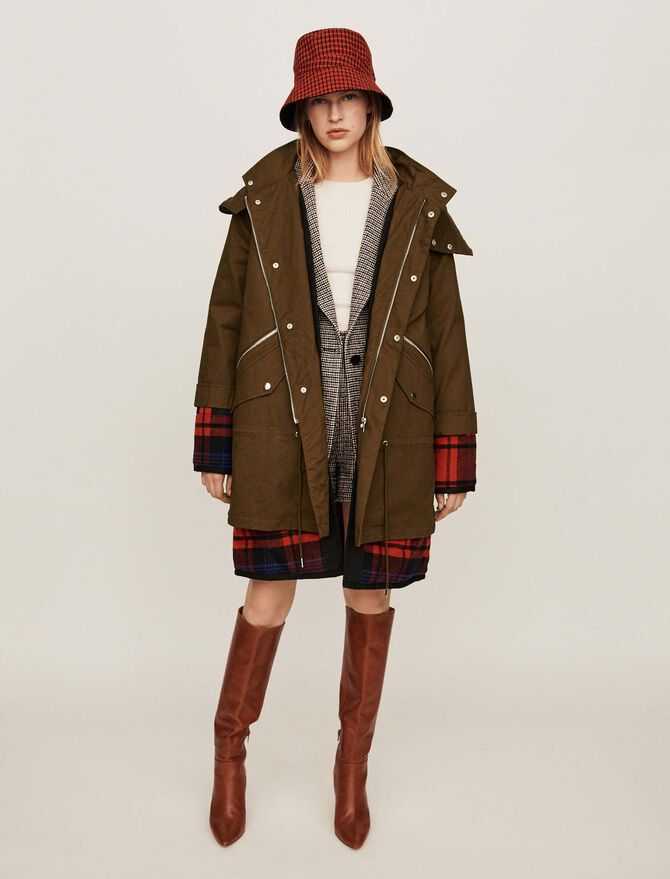 Layered parka with oversized hood -  - MAJE