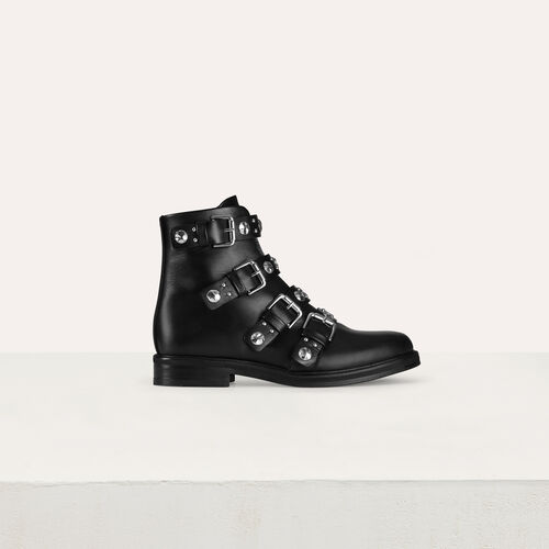 Multi-straps leather booties : See all color Black 210