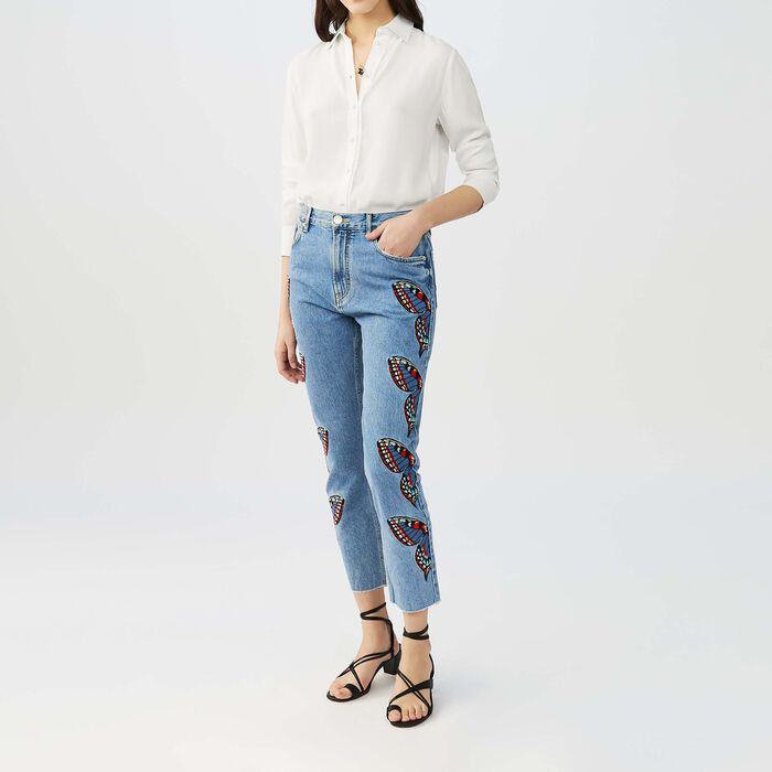 Straight cut jeans with embroidery : Pants & Jeans color Denim