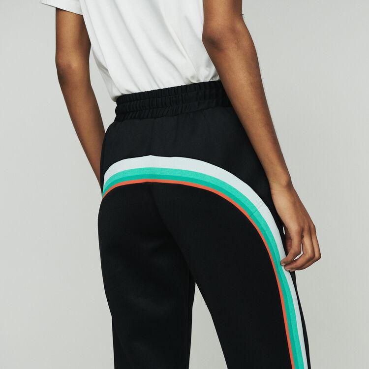 Sport pants with contrasting side bands : Pants & Jeans color Black