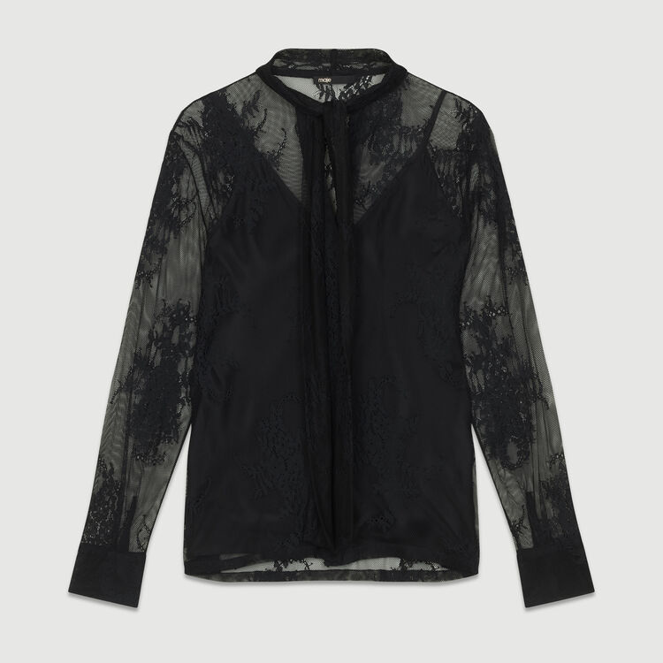Lavalier shirt in lace : Tops & T-Shirts color Black 210
