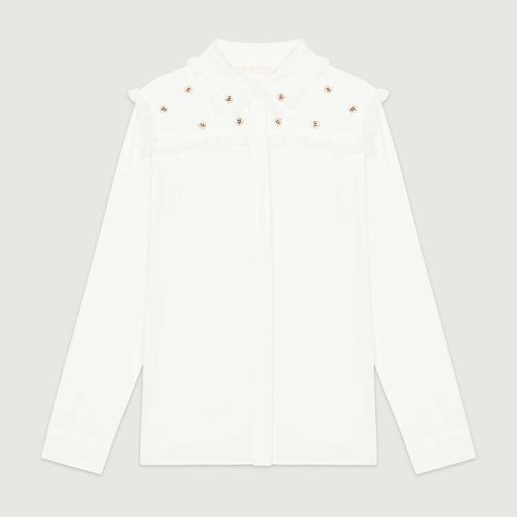 Shirt with embroidered bees : Tops & T-Shirts color White