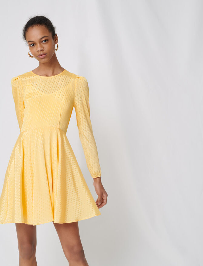 Yellow jacquard skater dress - Dresses - MAJE