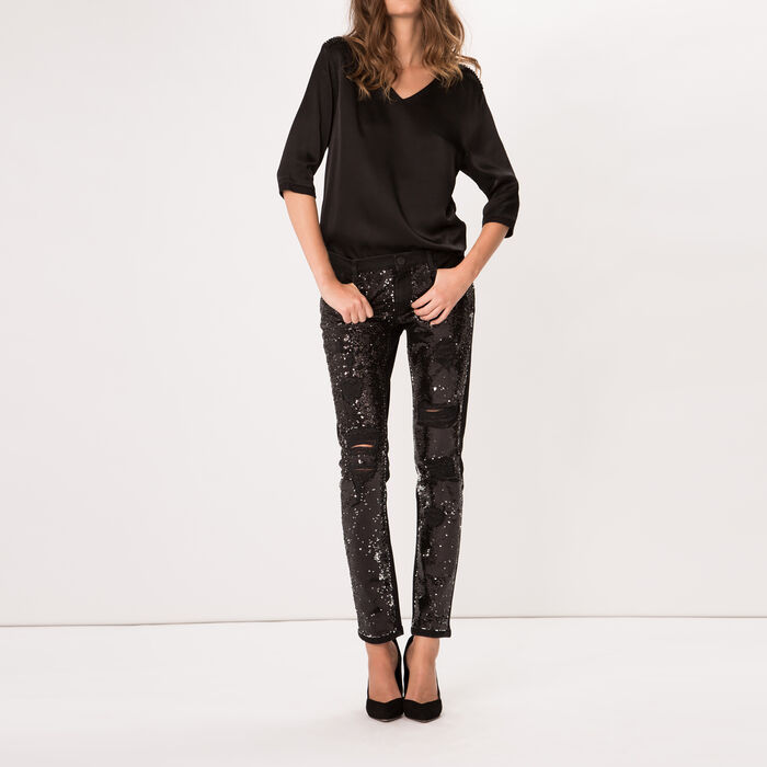 Stretch cotton glitter jeans : Copy of Sale color