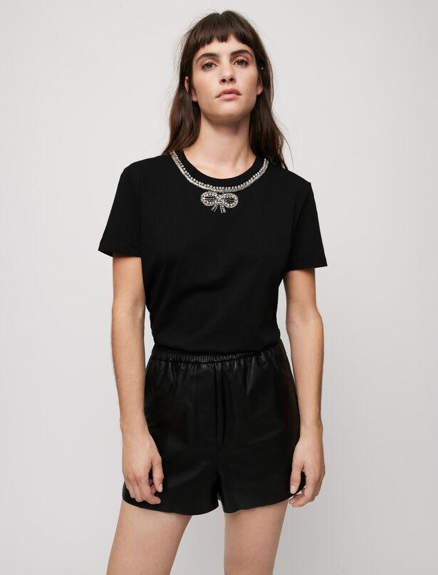 마쥬 티셔츠 MAJE T-shirt with rhinestone collar,Black