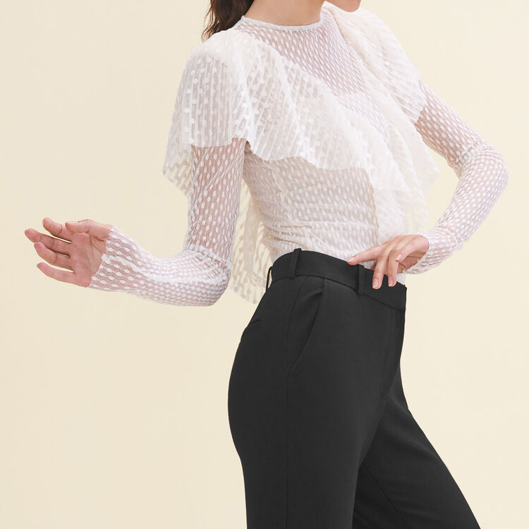 Frilled dotted Swiss top : Tops & Shirts color Ecru