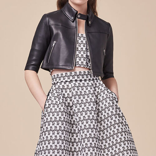 Cropped leather jacket : Coats & Jackets color Black 210