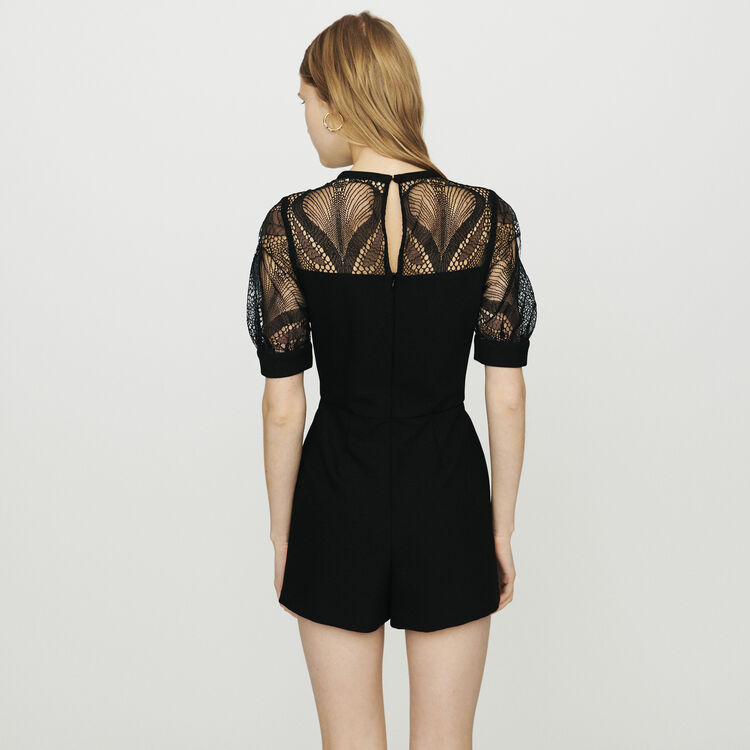 Romper in crepe and lace : Jumpsuits & Rompers color Black 210