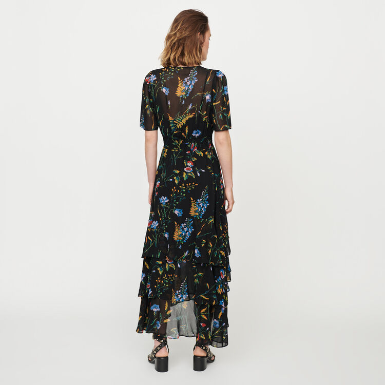2a7e70fe0a7 RUFFLE Floral maxi dress with ruffles - Dresses - Maje.com