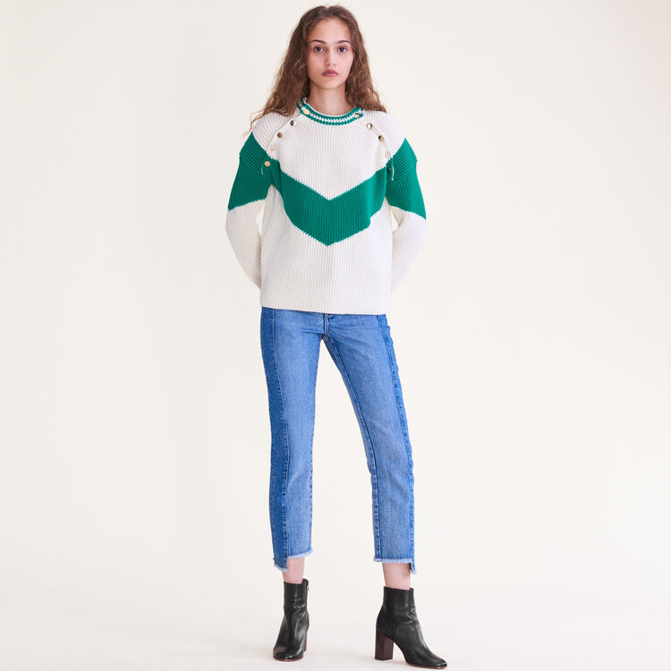Tricolour jumper with press studs : Sweaters color GREEN