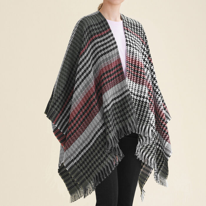 Multi-coloured houndstooth poncho : null color