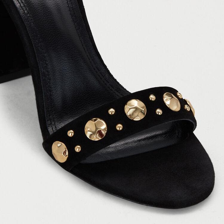 Suede heeled sandals : Shoes color Black 210