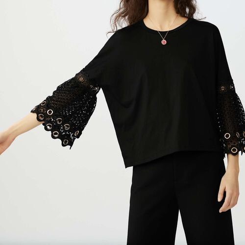 T-shirt with guipure lace sleeves : Tops & T-Shirts color Black 210