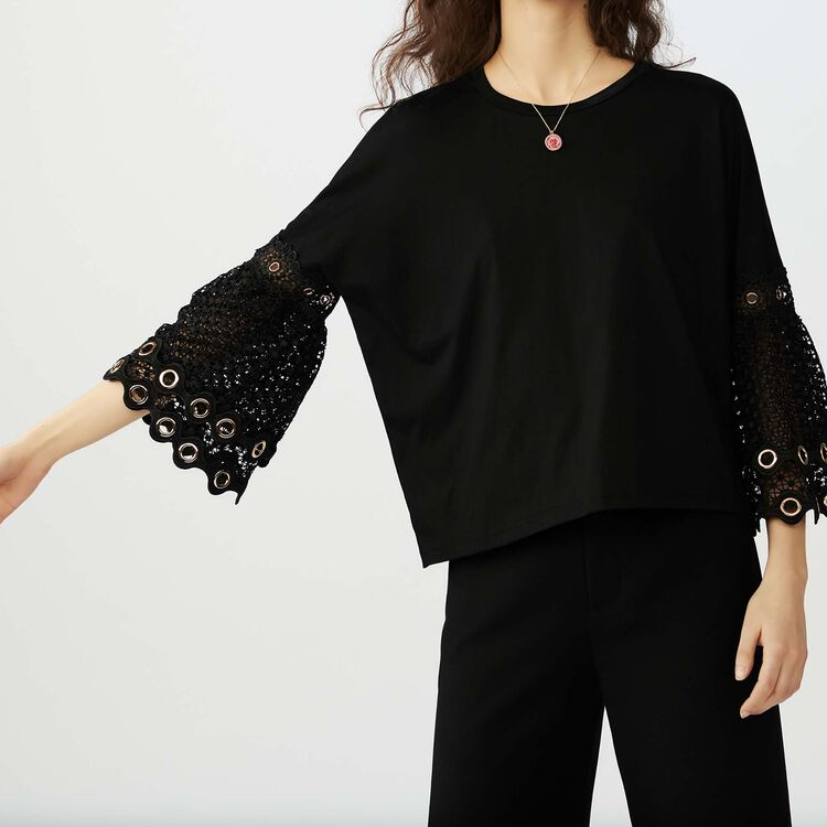 T-shirt with guipure lace sleeves : Tops & Shirts color Black 210