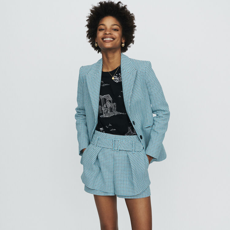 Suit tweed-style jacket : Coats & Jackets color Blue